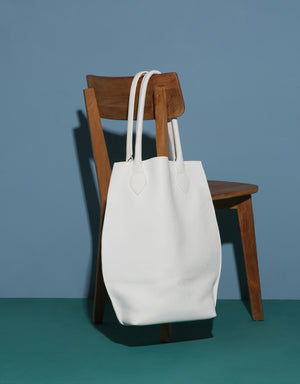 Oversized Leather Shopper Bag in White