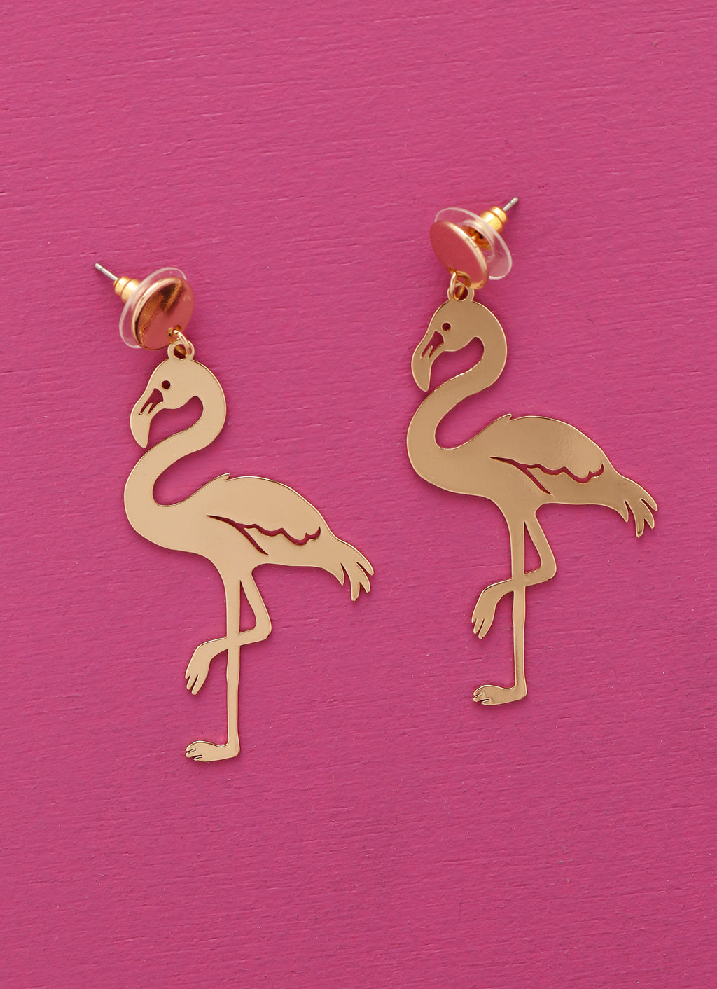 Golden Flamingo Statement Earrings