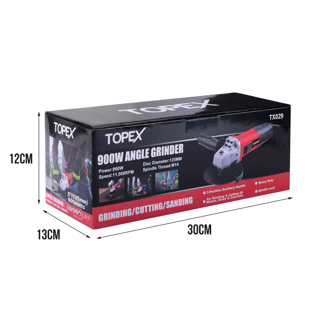 "Heavy Duty Topex 900W 125mm 5"" Angle Grinder with Side Handle Protection Switch"