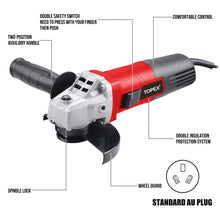 "Load image into Gallery viewer, Heavy Duty Topex 900W 125mm 5"" Angle Grinder with Side Handle Protection Switch"