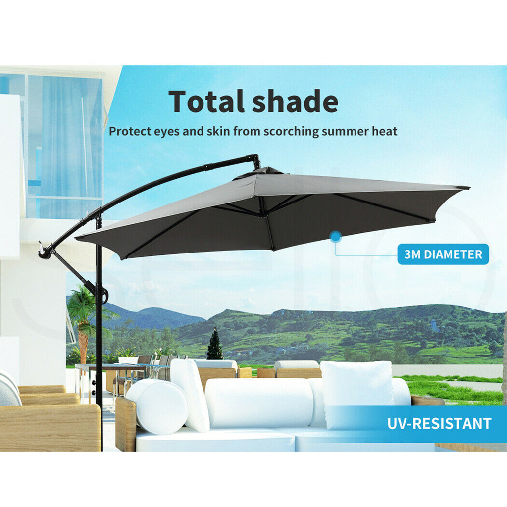 Outdoor Umbrella Cantilever Umbrellas Base Stand UV Shade Garden Patio Beach 3M