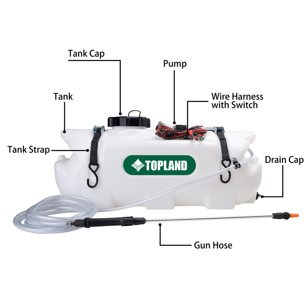 60L 12V ATV Weed Sprayer Broadcast and Spot Spray Chemical Tank