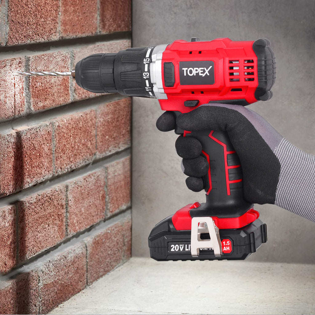 TOPEX 20V Cordless Drill Impact Driver Combo Kit w/ 2 Batteries Charger Tool Bag