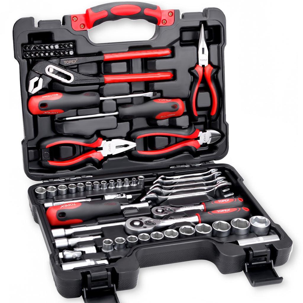 TOPEX 65-Piece Household Hand Tool Set Home Auto Repair Kit Premium Quality
