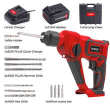 Load image into Gallery viewer, TOPEX 1010W SDS+ Rotary Hammer Drill Demolition Jack Hammer Kit w/ Chisels Drill