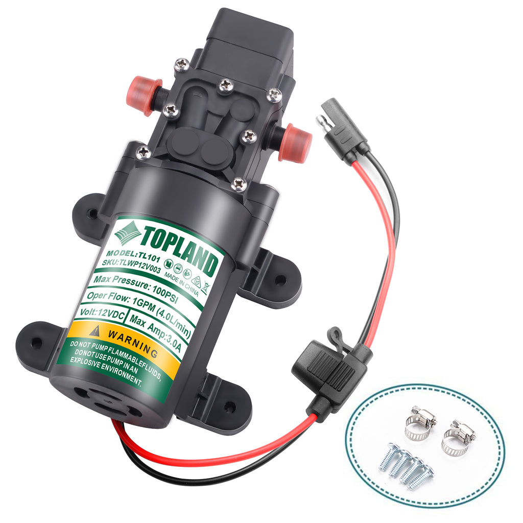 TOPLAND 12V Portable Diaphragm Water Pump with Safety Accessories Pressure Self Priming
