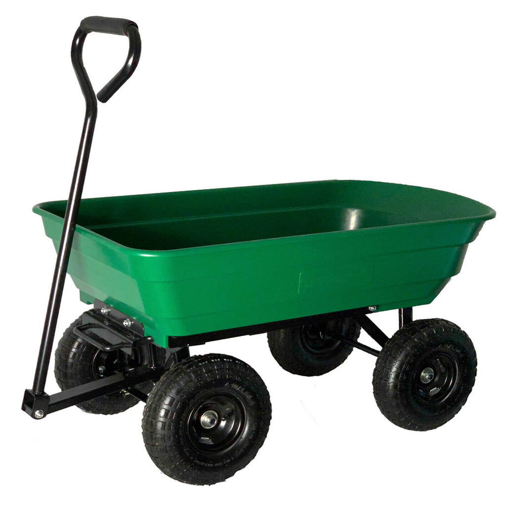 Garden Cart Tip H/Duty 250kg Tuff Poly Tray Lawn Towing Trolley Wagon Pull