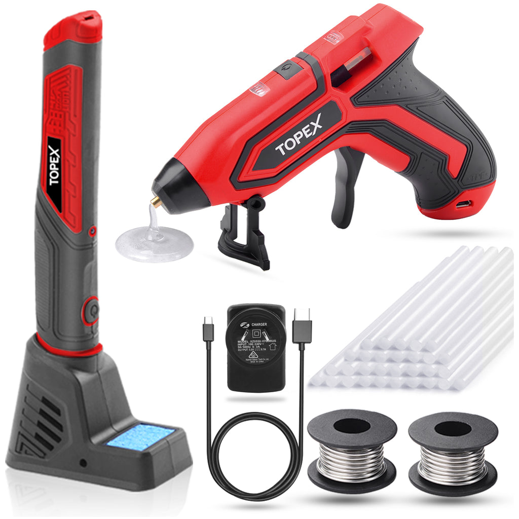 TOPEX Twin Kit 4V Max Cordless Glue Gun Soldering Iron with Adaptor Accessories