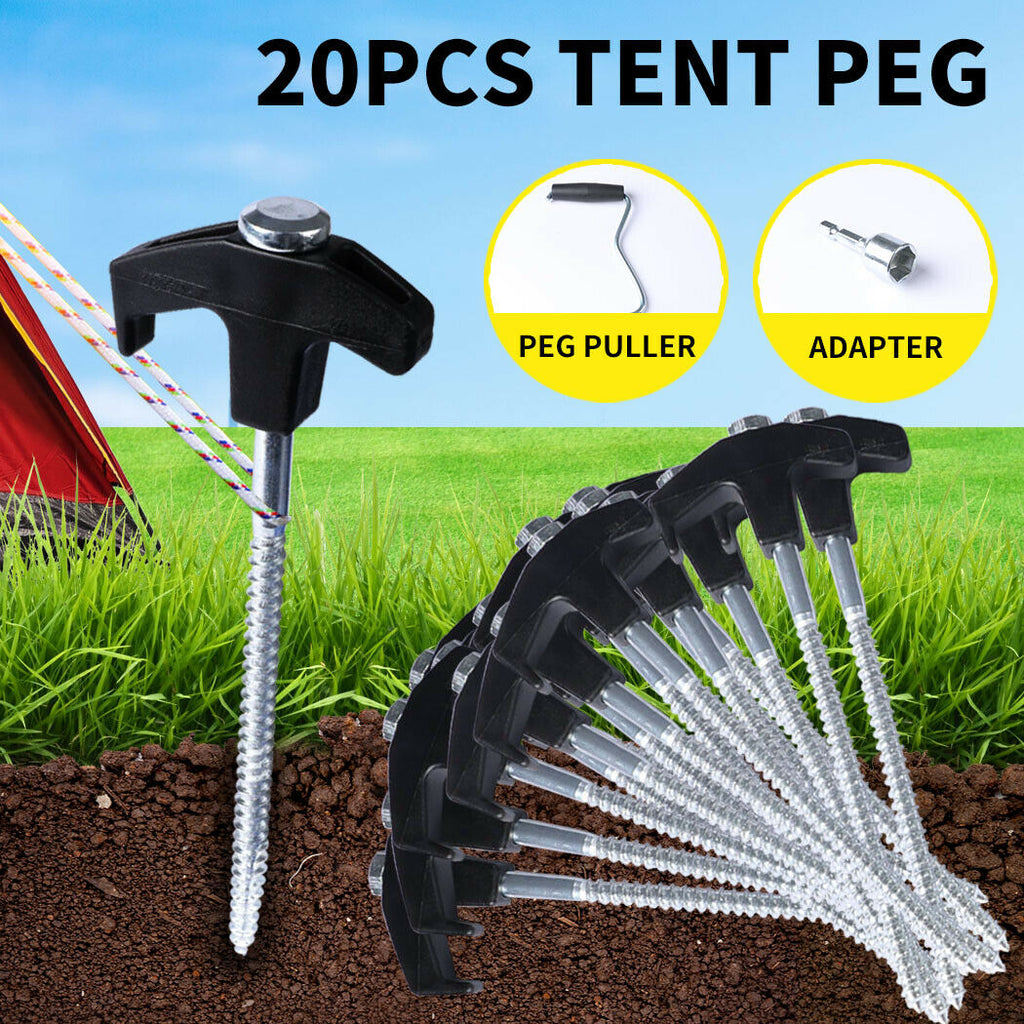 20Pcs Tent Pegs Heavy Duty Screw Steel In Ground Camping Stakes Outdoor Canopy