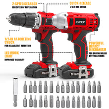 Load image into Gallery viewer, TOPEX 20V Cordless Drill Impact Driver Combo Kit w/ 2 Batteries Screwdriver Bit Set
