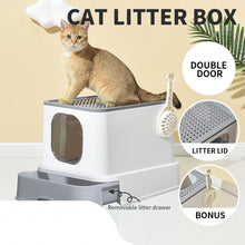 Load image into Gallery viewer, Cat Litter Box Fully Enclosed Kitty Toilet Trapping Sifting Odor Control Basin