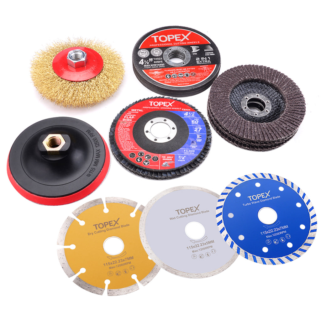 20PCs 115mm Cutting Wheel Flap Grinding Disc Wire Brush Diamond Turo Blades Kit