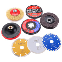 Load image into Gallery viewer, 20PCs 115mm Cutting Wheel Flap Grinding Disc Wire Brush Diamond Turo Blades Kit