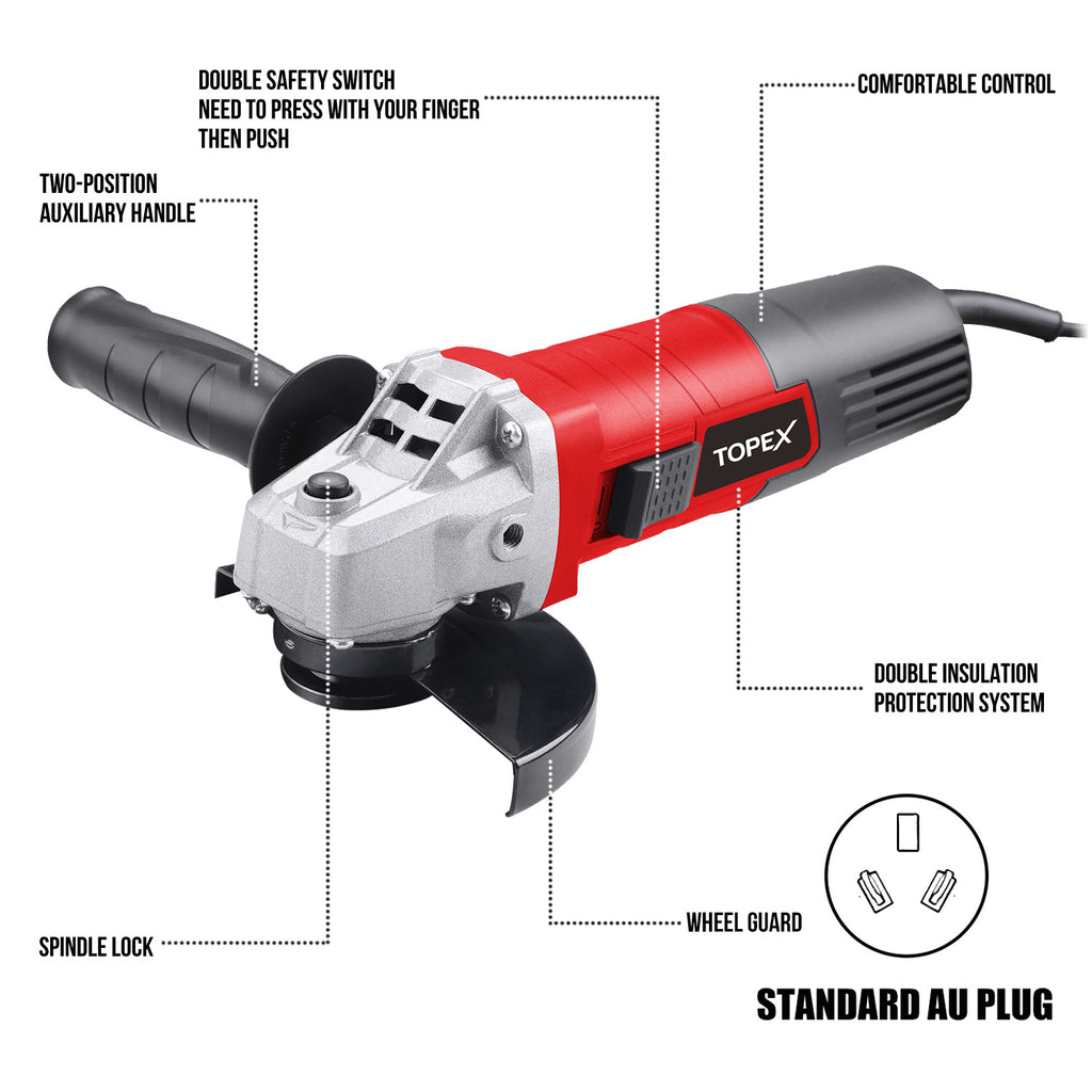 "TOPEX Heavy Duty 900W 125mm 5'' Angle Grinder w/ 50PCs 5"" Cutting Discs"