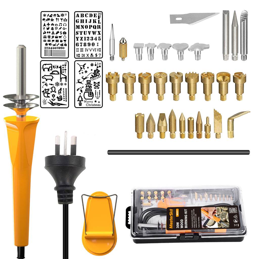 37PC 30W Wood Burning Set Electric Soldering Iron Kit Iron Burner Hobby Kit