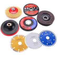 Load image into Gallery viewer, TOPEX 900W 125mm 5'' Angle Grinder w/ 20PCs 115mm Combo Discs Cut Grind Polish