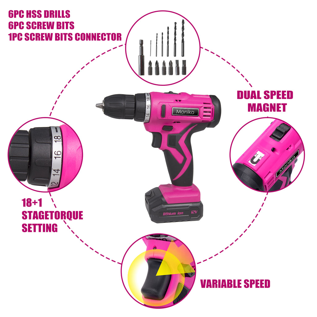 Monika Pink Tool Combo Cordless Drill Driver ELectric Cutter Bottle Opener Screwdriver