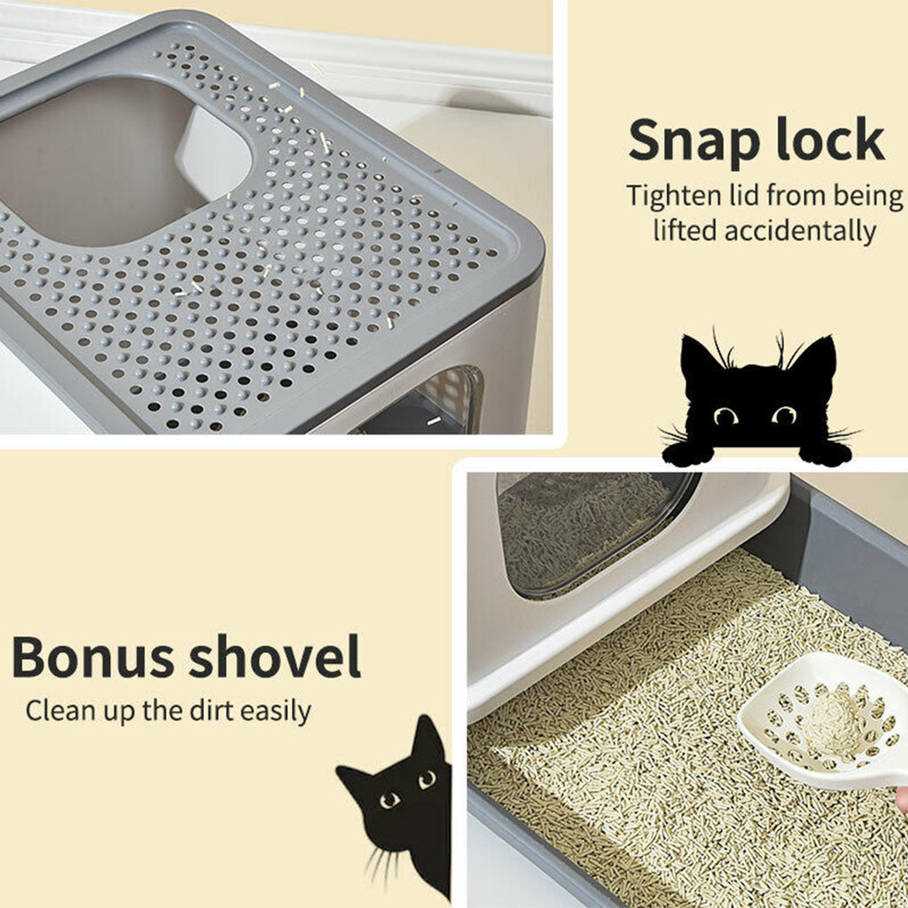 Cat Litter Box Fully Enclosed Kitty Toilet Trapping Sifting Odor Control Basin