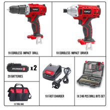 Load image into Gallery viewer, TOPEX 20V Cordless Impact Drill Driver Combo Kit w/ 2 Batteries Drill Bits Set