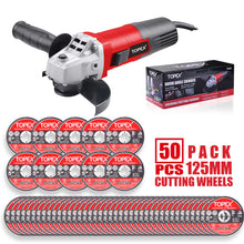 "Load image into Gallery viewer, TOPEX Heavy Duty 900W 125mm 5'' Angle Grinder w/ 50PCs 5"" Cutting Discs"