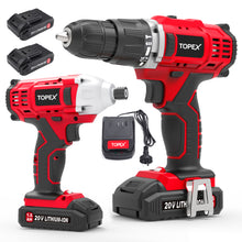 Load image into Gallery viewer, TOPEX 20V Cordless Drill Impact Driver Combo Kit w/ 2 Batteries Charger Tool Bag
