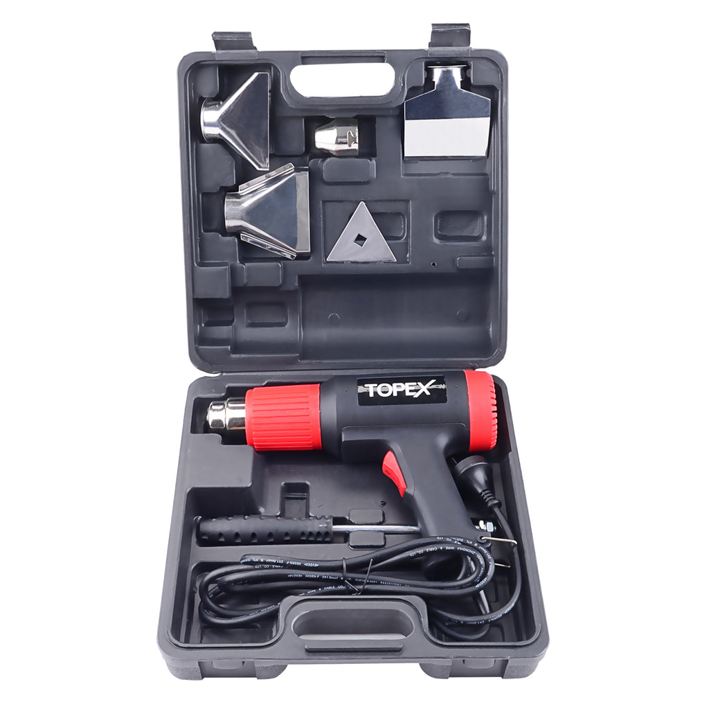 TOPEX Heat Gun Hot Air Heating Tool Kit Dual Speed w/ 5 Accessories Storage Case