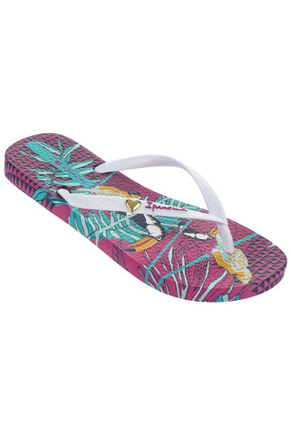 IPANEMA LADIES BRAZILIAN PARIDISO BIRDS FLIPFLOPS PINK WHITE