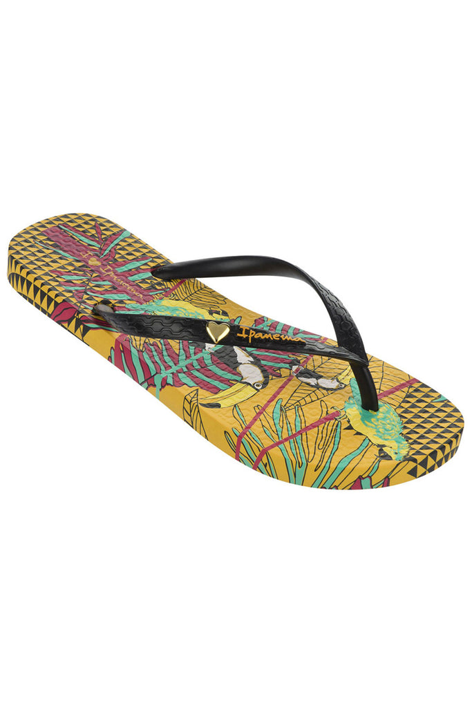 IPANEMA LADIES BRAZILIAN PARIDISO BIRDS FLIPFLOPS YELLOW BLACK