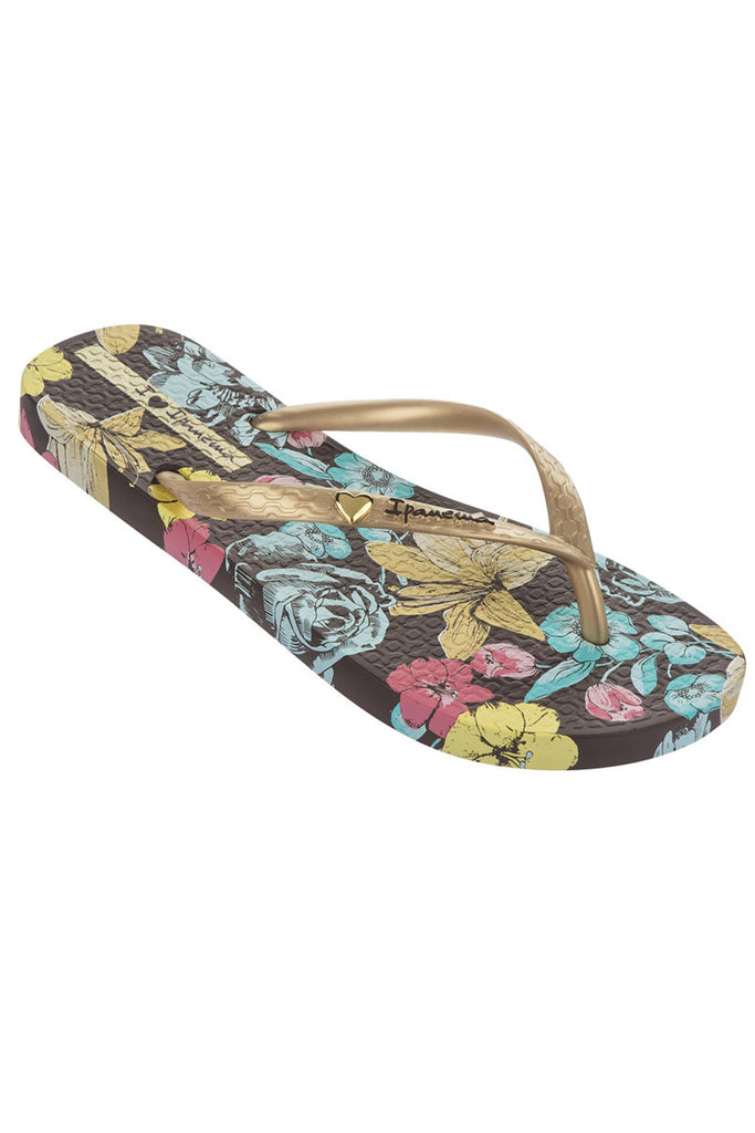 Ipanema Paradiso flowers flipflops - Brown Gold