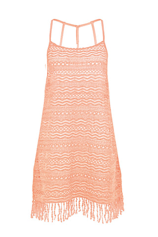 MAGIC BAZAAR APRICOT CROCHET BEACH DRESS COVER UP