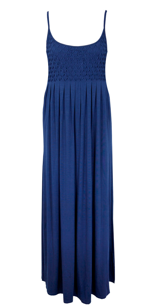 WATERCULT BEACHWEAR SUMMER SOLIDS MAXI DRESS IN NOCTURNE NAVY