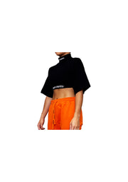 Black High Neck Elasticated Waist Crop Top