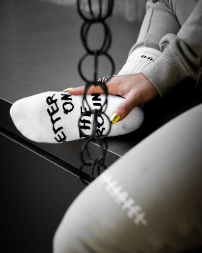 White Luxury Designer 'Better On The Ground' Socks