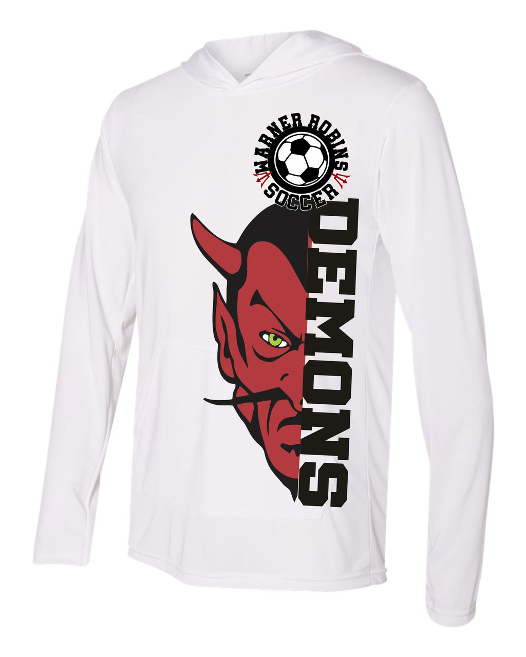 performance hoodie, demon graphic warner robins demons soccer