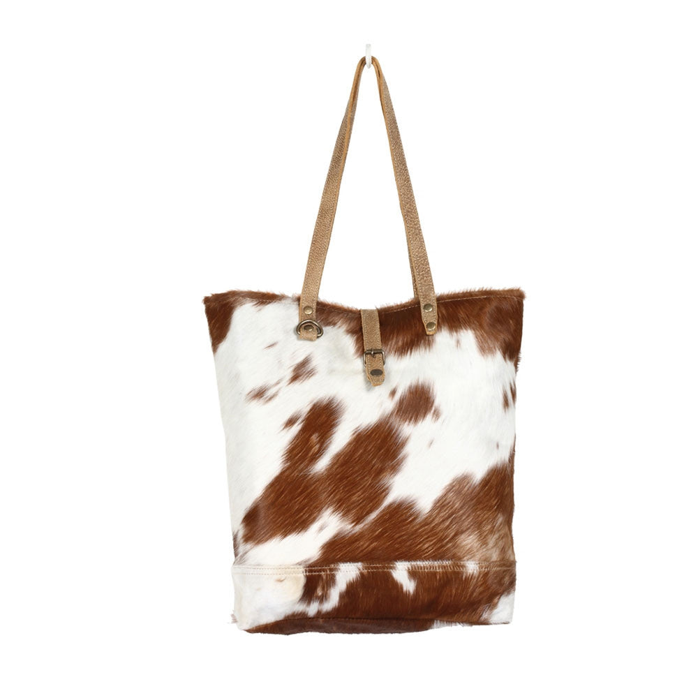 Cowhide tote bag, Hair on myra leather handbag