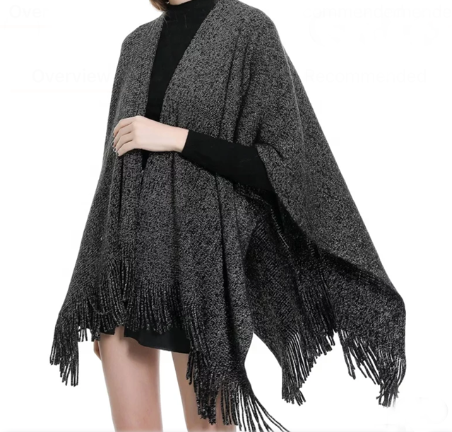 Sweater shawl, holiday open poncho