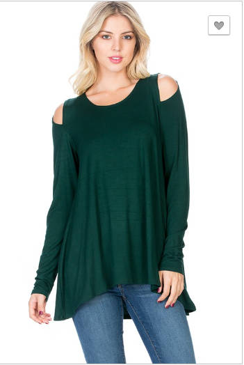 Peep shoulder tunic, emerald green tunic
