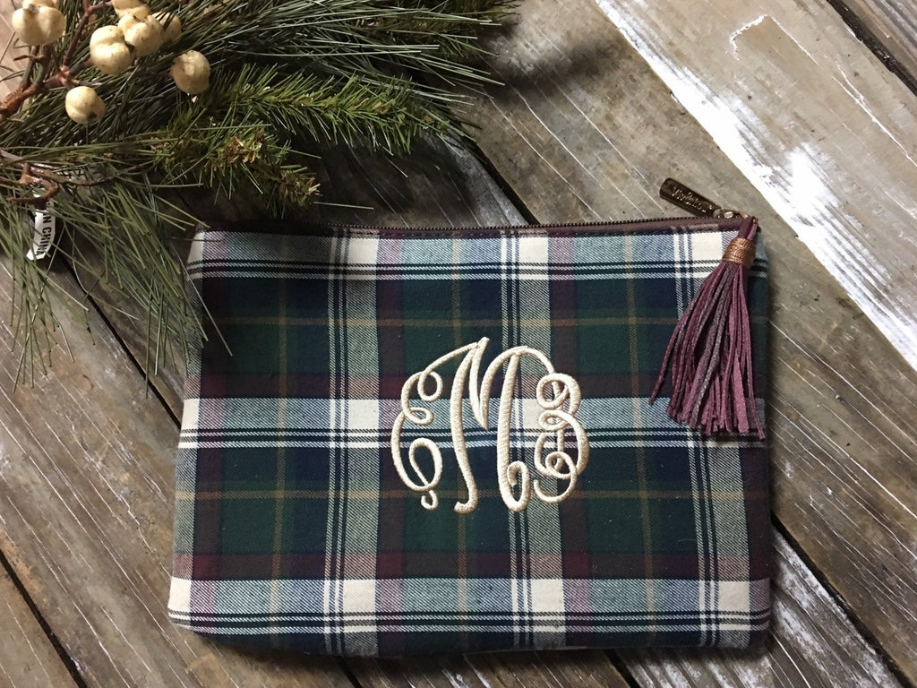 green-navy-plaid-monogrammed-bag