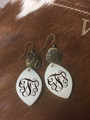 Monogrammed drop earrings