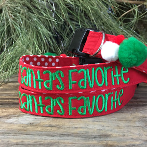 Christmas dog collar, Santa's favorite puppy collar