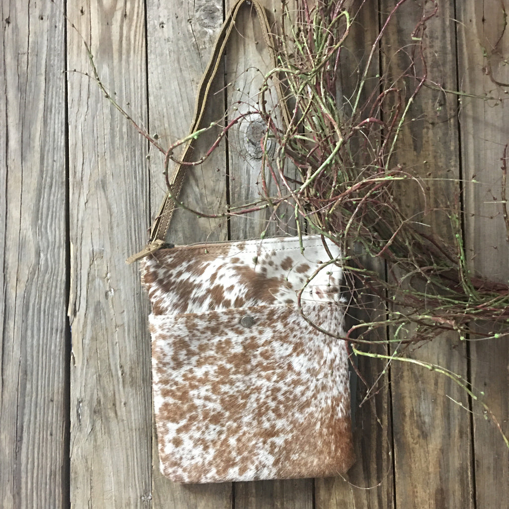 Crossbody leather purse, cowhide hairon leather purse