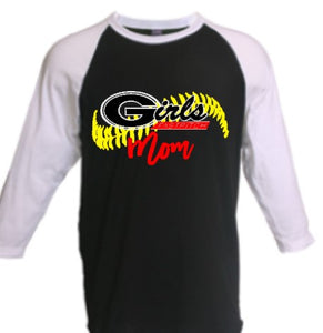 softball Mom raglan t, GA Girls softball