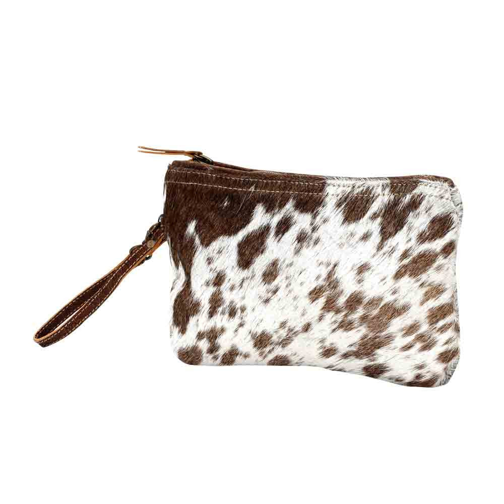 Cow hide leather clutch, hair on leather handbag
