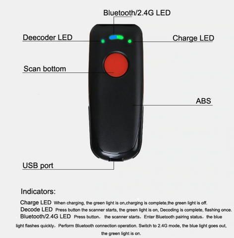 Handheld Bluetooth Barcode QR Scanner