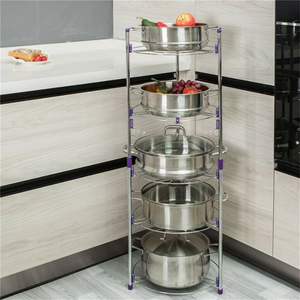 Large 5 Tier Pots And Pans Storage Organizer Rack