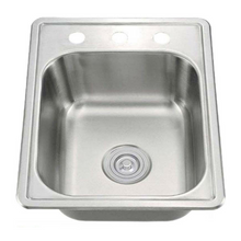 Load image into Gallery viewer, Single Bowl Stainless Steel Drop In Overmount Kitchen Sink
