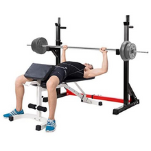 Load image into Gallery viewer, Adjustable Home Gym Bench Press And Squat Barbell Half Rack | Zincera