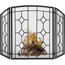 Load image into Gallery viewer, Modern Decorative Black Fireplace Screen Door 3 Panel | Zincera