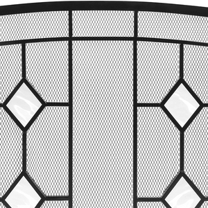 Modern Decorative Black Fireplace Screen Door 3 Panel | Zincera