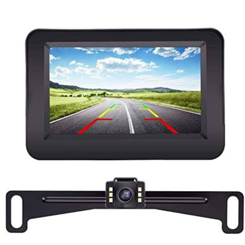 Car Rear View License Plate Backup Camera Kit With Monitor